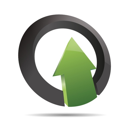 3D abstract arrow green nature wood direction ring angular upswing symbol corporate design icon logo trademark Vector