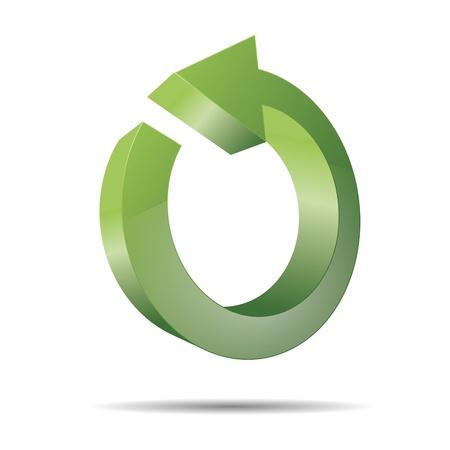 eco slogan: 3D abstracto direcci�n flecha circular ronda verde puntero dise�o de la naturaleza icono logotipo de la marca