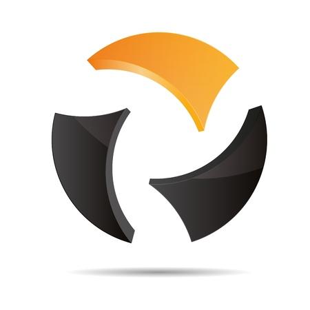 trademark: 3D abstracto bola circular Mundial globo naranja verano sol s�mbolo corporativo dise�o ic�nico logo marca Vectores