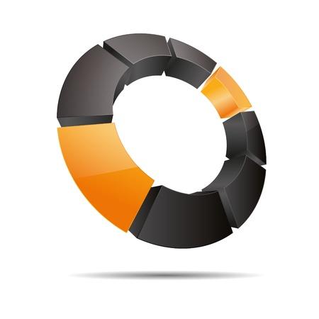 trademark: 3D abstracto anillo circular cubo esquina naranja, sol, verano s�mbolo corporativo dise�o ic�nico logo marca