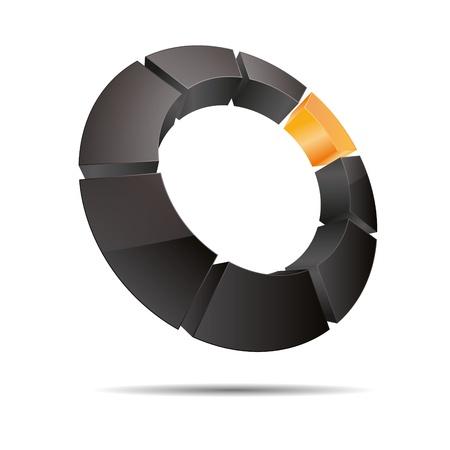 firma: 3D abstract ring circular corner cube orange sun summer symbol corporate design icon logo trademark
