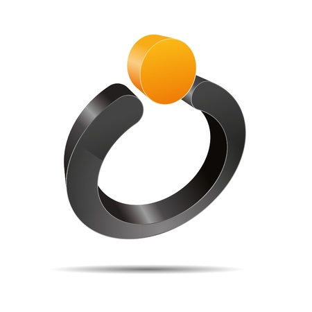 firma: 3D abstract ring pearl sun summer jewelry point orange symbol Illustration