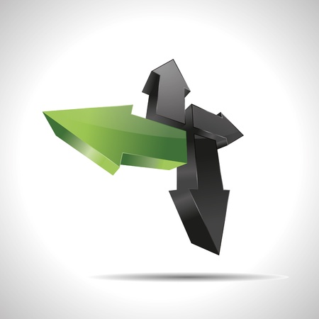 eco slogan: 3D abstract arrow direction green pointer design nature icon logo trademark Illustration