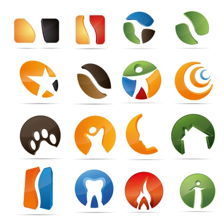 3D abstraction set nature coffee figur dental house fire corporate logo design icon sign business Vector