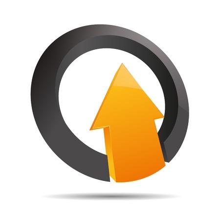 trademark: 3D abstracto flecha naranja direcci�n dom anillo angular alza s�mbolo dise�o corporativo icono logotipo de la marca Vectores