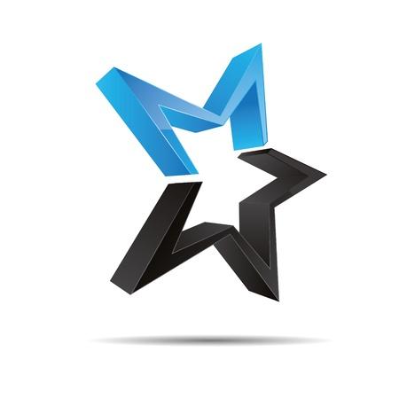 logotipo animal: 3D abstracto agua azul oc�ano starfish navidad plantilla de dise�o ic�nico logo marca
