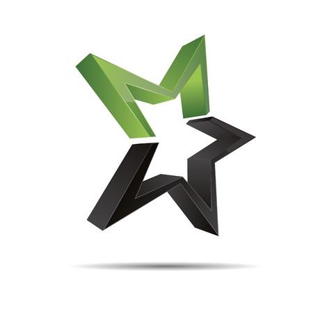 christmas template: 3D astratto verde natura legno eco stella stella marina natale modello di progettazione icona marchio Vettoriali