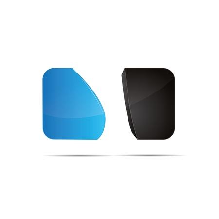 3D abstract  blue water sky ocean cube rounding wave sweeping design icon logo trademark Stock Vector - 15621668
