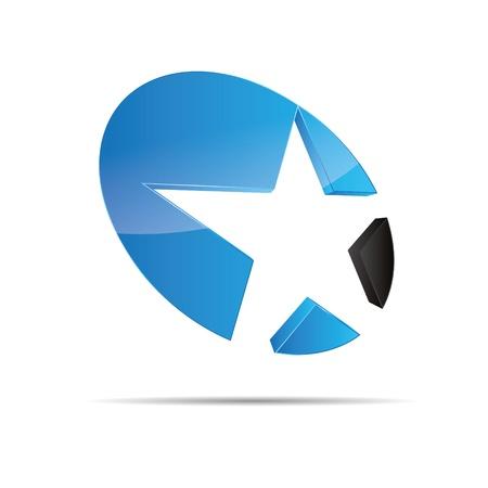 christmas template: 3D astratto blu acqua oceano stella stella marina natale modello di progettazione icona marchio