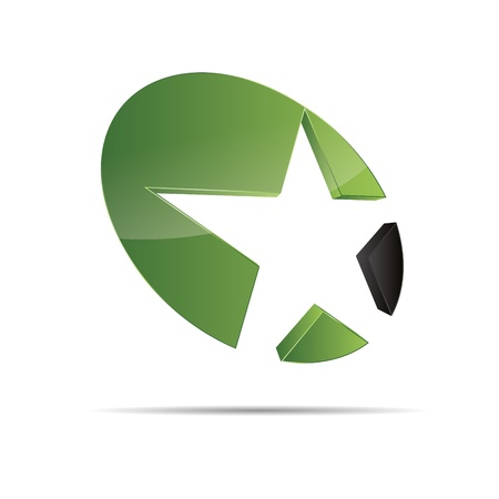 3D abstract green nature wood eco star starfish christmas template design icon logo trademark Stock Vector - 15621676