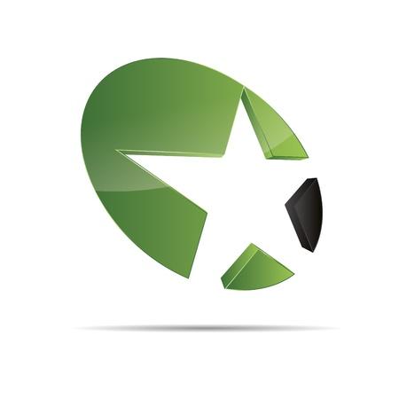 trademark: 3D abstracto verde naturaleza madera eco estrella de mar estrella de la Navidad plantilla de dise�o ic�nico logo marca