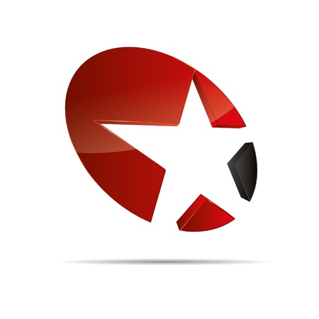 3D abstract red star starfish christmas template design icon logo trademark Stock Vector - 15621671