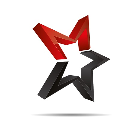 star logo: 3D abstract red star starfish christmas template design icon logo trademark