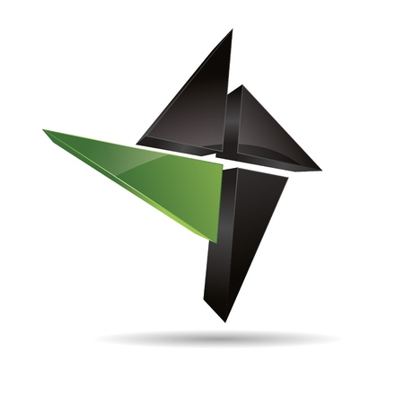 firma: 3D abstract corporate green nature eco wood angular cross triangular halft design icon logo trademark Illustration