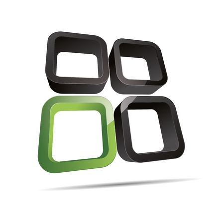 firma: 3D abstract corporate green eco bio nature round cube window design icon logo trademark