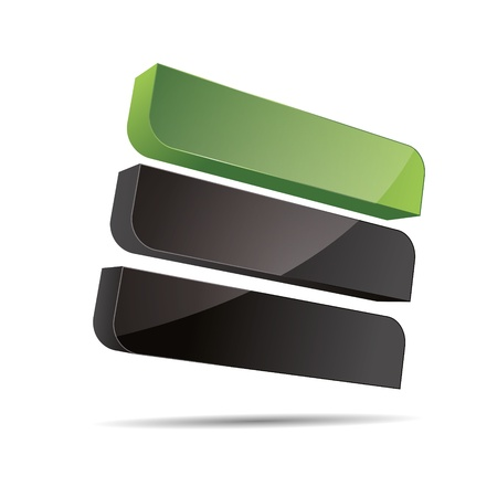3D abstract corporate green nature bio eco stiff rectangle cube line sail design icon logo trademark Stock Vector - 15621679