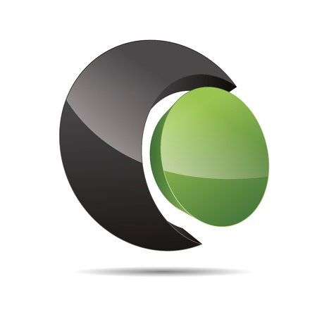 3D abstract corporate green nature bio eco circular point sun design icon logo trademark Vector