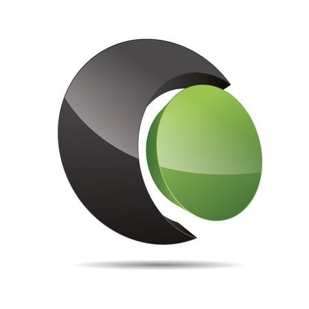 3D abstract corporate green nature bio eco circular point sun design icon logo trademark Stock Vector - 15621674
