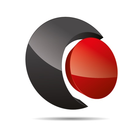 3D abstract corporate red circular point sun design icon logo trademark Vector
