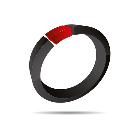 3D abstract corporate red ring jewelry pearl design icon logo trademark Stock Vector - 15621665
