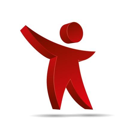 trademark: 3D hijos figura abstracta roja icono del dise�o corporativo logotipo de la marca
