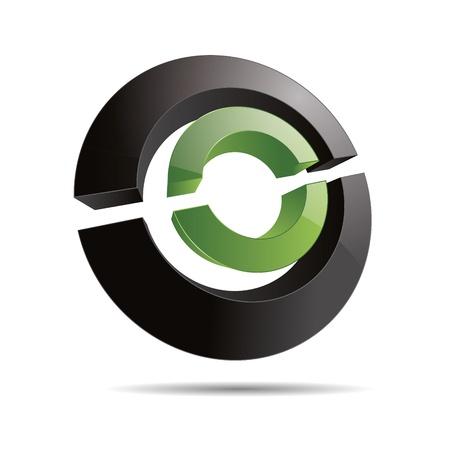eco slogan: 3D abstracto verde de la naturaleza circular del anillo s�mbolo rebanadas line cubo dise�o corporativo icono logotipo de la marca
