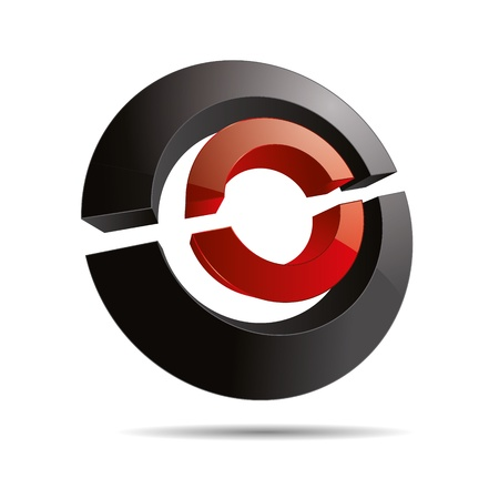 firma: 3D abstract red circular symbol ring line slices cube corporate design icon logo trademark