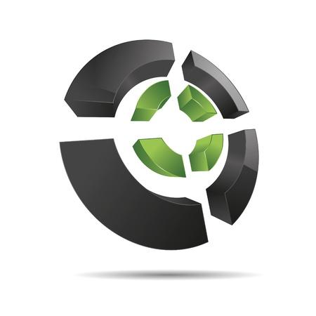 eco slogan: 3d abstracto verde naturaleza circular esquinas anillo s�mbolo de la cruz cubo icono corporativo dise�o de marcas logo