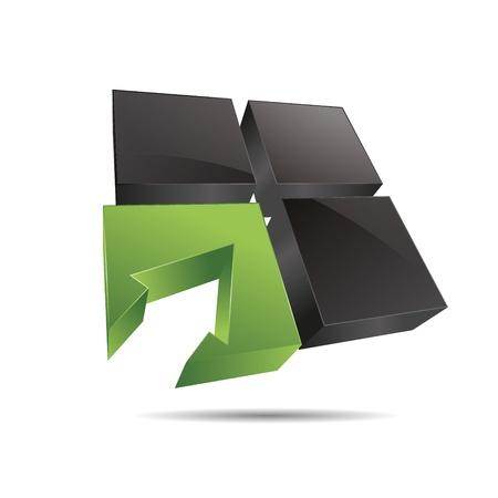 flecha direccion: 3D cubo abstracto verde de la naturaleza ventana cuadrada flecha de direcci�n de s�mbolo corporativo dise�o ic�nico logo marca Vectores