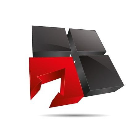 trademark: 3D abstracto ventana cubo cuadrado rojo s�mbolo flecha de direcci�n corporativa dise�o ic�nico logo marca