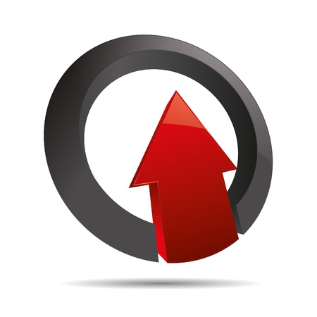 firma: 3D abstract arrow red direction ring angular upswing symbol corporate design icon logo trademark Illustration