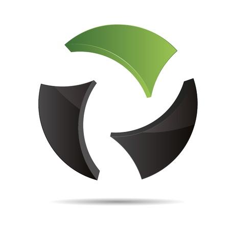 3D abstract ball circular World globe green nature symbol corporate design icon logo trademark Stock Vector - 15576167