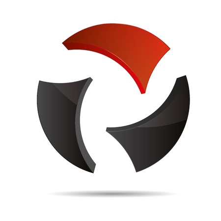 trademark: 3D abstracto bola circular globo del mundo rojo s�mbolo dise�o corporativo icono logotipo de la marca