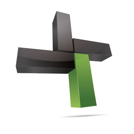 3D abstract cube cuboid cross x rectangle green nature symbol corporate design icon logo trademark Stock Vector - 15576158
