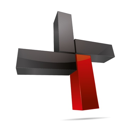 cuboid: 3D abstract cube cuboid cross x rectangle red symbol corporate design icon logo trademark