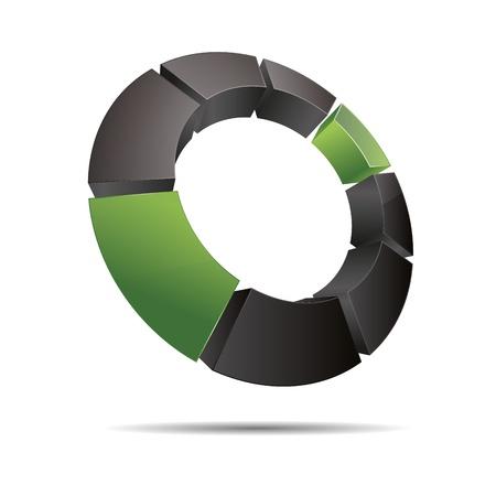 trademark: 3D abstracto anillo circular cubo esquina verde naturaleza madera s�mbolo corporativo dise�o ic�nico logo marca