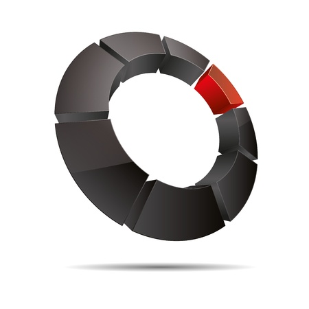 red cube: 3D anello astratto cubo d'angolo circolare rosso simbolo corporate design icona logo marchio Vettoriali