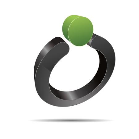 trademark: 3D abstracto anillo de perlas joyas de la naturaleza punto verde s�mbolo de dise�o corporativo icono logotipo de la marca
