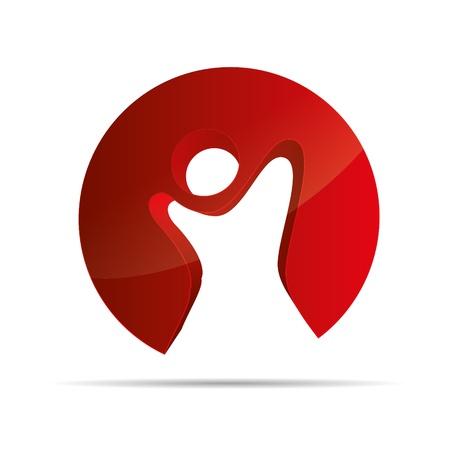 bonhomme allumette: 3D abstract figure rouge stickman symbole circulaire liberté enfants Illustration