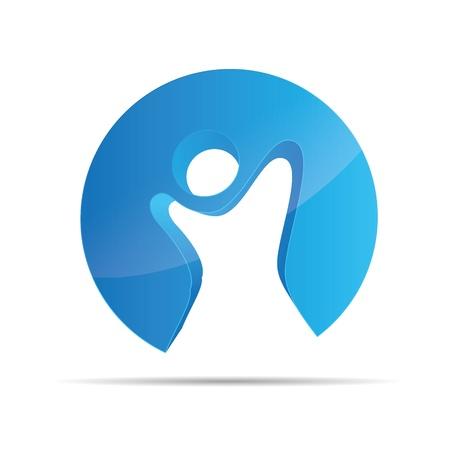 3D astratto blu figura stickman circolare bambini libertà simbolo corporate design icona marchio Vettoriali