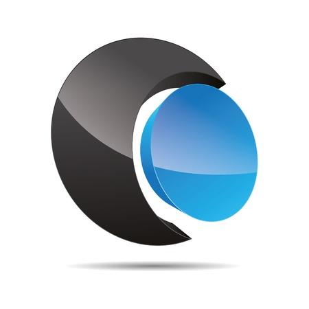 3D abstract corporate blue water ocean sky circular point sun design icon logo trademark Stock Vector - 15621673