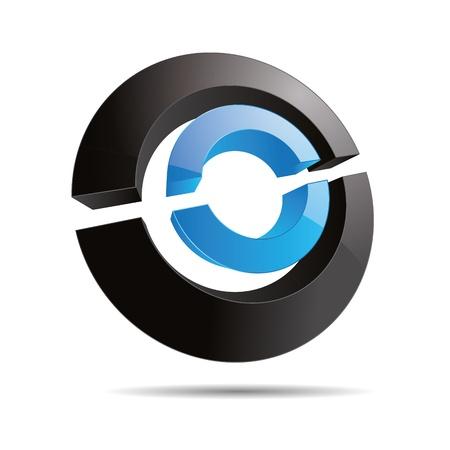 trademark: 3D abstracto agua azul s�mbolo circular del anillo rebanadas l�nea corporativo cubo dise�o ic�nico logo marca Vectores