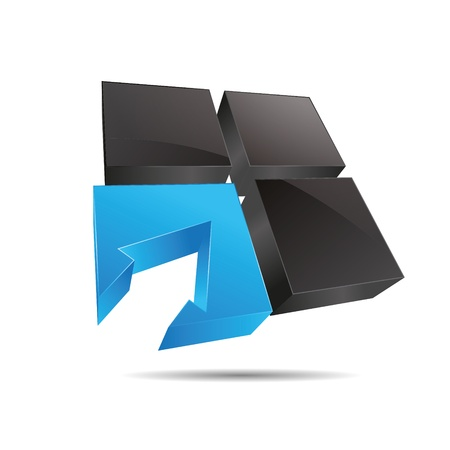 trademark: 3D cubo de agua azul resumen ventana cuadrada flecha de direcci�n de s�mbolo corporativo dise�o ic�nico logo marca