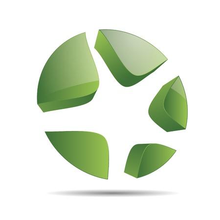 3D abstract green nature wood eco star starfish christmas template design icon logo trademark Stock Vector - 15621666