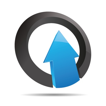 firma: 3D abstract arrow blue water ocean direction ring angular upswing symbol corporate design icon logo trademark