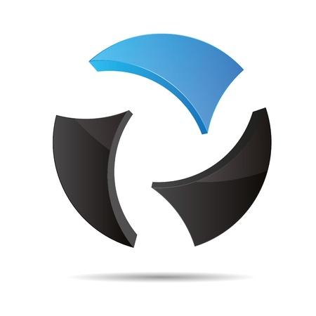 slogan: 3D abstracto bola circular globo del mundo del agua azul cielo s�mbolo de dise�o corporativo icono logotipo de la marca Vectores