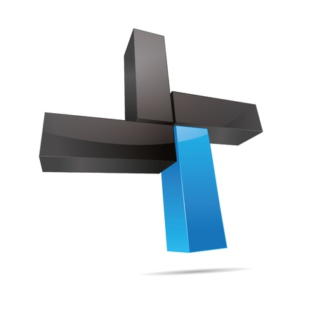 cuboid: 3D abstract cube cuboid cross x rectangle blue water sky symbol corporate design icon logo trademark