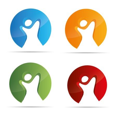 bonhomme allumette: 3D figure abstraite stickman ensemble circulaire enfants la liberté symbole de l'entreprise de conception de logo marque icône