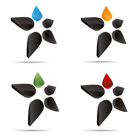 3D abstract set figure stickman flower drip star symbol corporate design icon logo trademark Stock Vector - 15531402