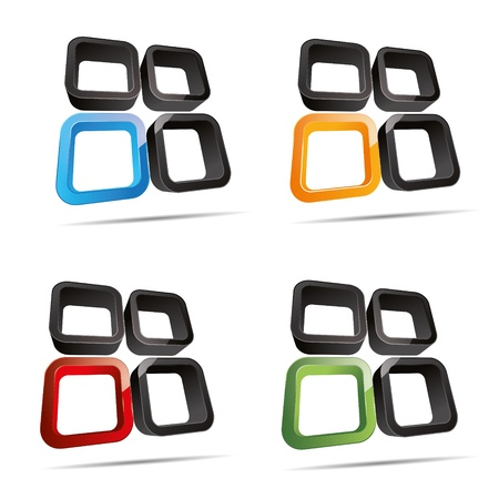 3D abstract set rounded cube window hole symbol corporate design icon logo trademark Vector